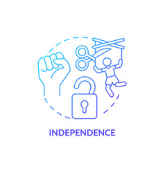 Independence and autonomy concept icon vector