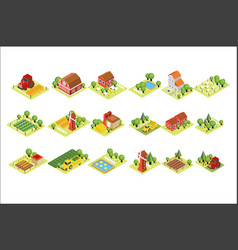 isometric farm set house fields with harvest vector image