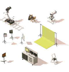 Isometric low poly video equipment set vector