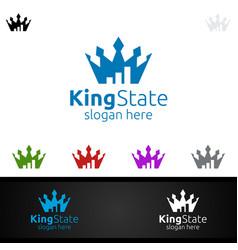 King marketing financial advisor logo design vector