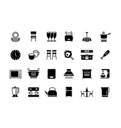 kitchen black icons appliances furniture and vector image
