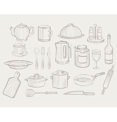 Kitchen Utensils hand drawn style vector