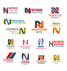 Letter n corporate identity business icons vector