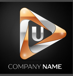 Letter u logo symbol in the colorful triangle on vector