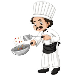 Male chef using frying pan vector