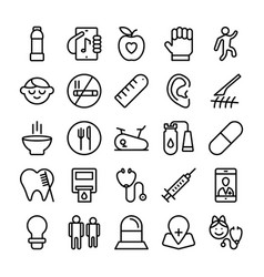 medical health and hospital line icons 7 vector image