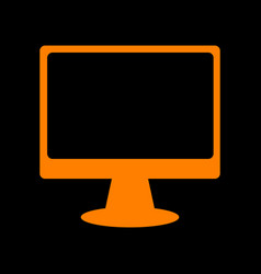 monitor with brush sign orange icon on black vector image