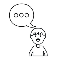 Monochrome man with speech bubble avatar character vector