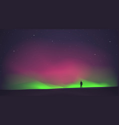 Northern lights with a man in the foreground vector