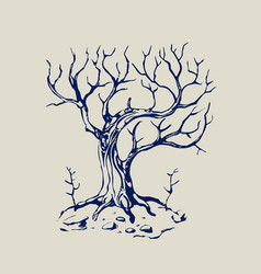 old mystical tree without foliage vector image