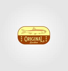 original sardine fish vintage logo label emblem vector image