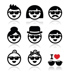 People wearing sunglasses holidays icons set vector image