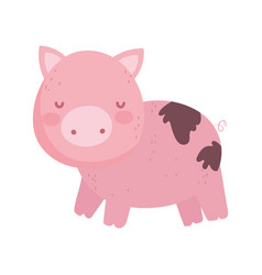 Pig with mud farm animal isolated icon on white vector