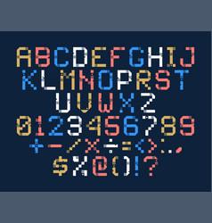 pixel art alphabet colorful letters consist of vector image