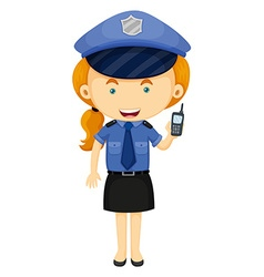 Policewoman in blue uniform vector