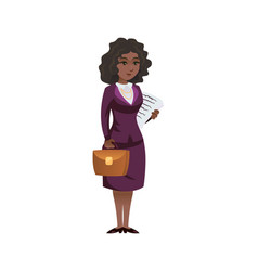 pretty black woman with documents vector image