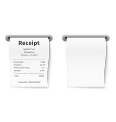 realistic receipt billing commission terminal vector image