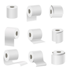 realistic template blank white toilet paper set vector image