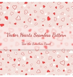 Red and white hearts seamless pattern valentines vector image