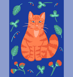 red cat with flowers vector image