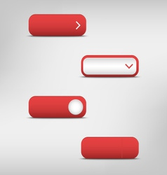 Red empty rectangular buttons vector