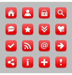 Red satin icon web button with white basic sign vector