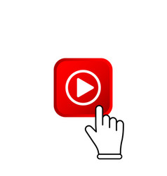 Red subscribe button with mouse pointer and media vector