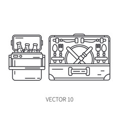 retro furniture compact picnic basket and vector image