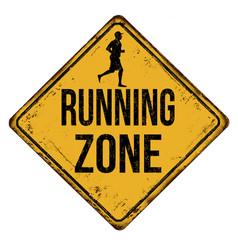 Running zone vintage rusty metal sign vector