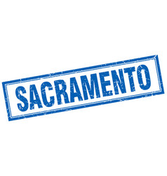 Sacramento blue square grunge stamp on white vector
