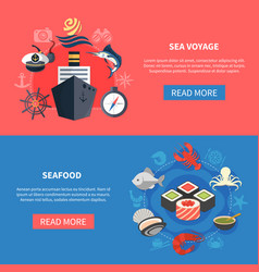 sea travel banners set vector image
