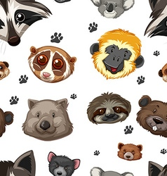 Seamless background with animal heads vector image