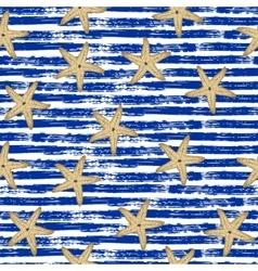 Seamless pattern Blue lines starfish vector
