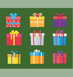set parcel package icons in decorative wrapping vector image