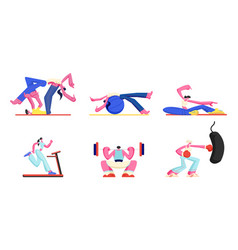 set people engage fitness aerobics sport vector image