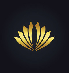 Shape abstract flower gold logo vector