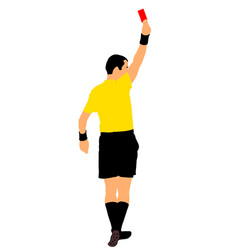Soccer referee shows red card for football player vector