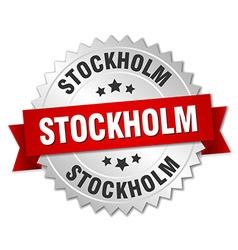 Stockholm round silver badge with red ribbon vector