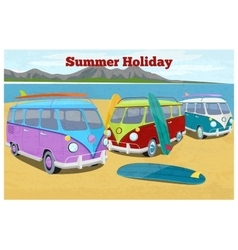 Summer travel design with surfing camper van vector