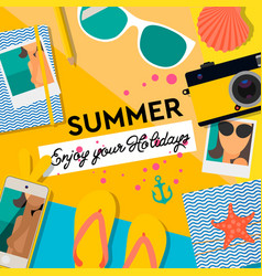 Summertime background enjoy your holiday vector