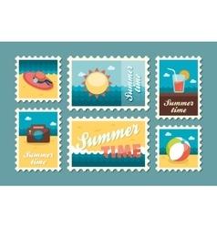 Summertime stamp set flat vector image
