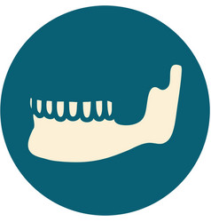 Tattoo style icon a skeleton jaw vector