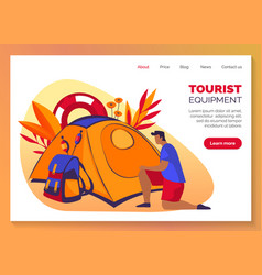 Tourism travel and camping equipment web banner vector