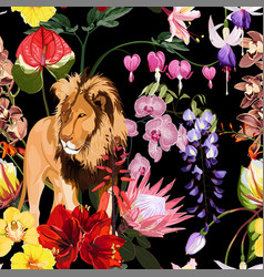 Tropical exotic flowers lion animal floral seamle vector