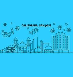 united states san jose winter holidays skyline vector image