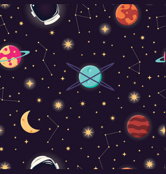 Universe with planets stars and astronaut helmet vector