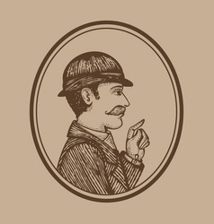 Vintage engraved man vector