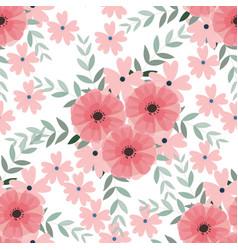 vintage light blue and pink wild flower and leaf vector image