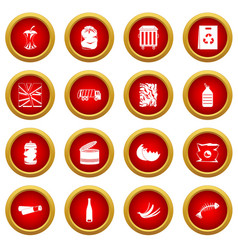 Waste and garbage icon red circle set vector