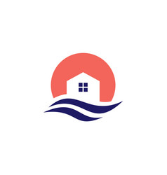 wave gulf house home logo icon vector image
